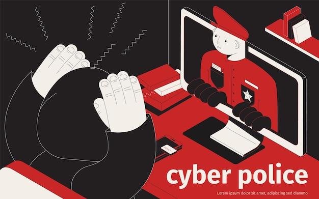 Ilustración isométrica de la policía cibernética