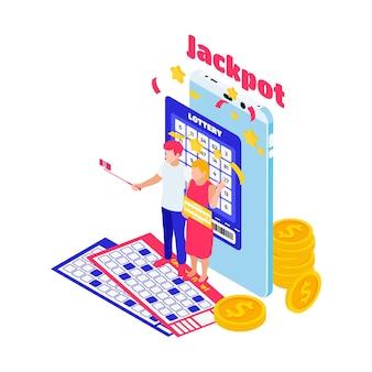 Ilustración isométrica del premio mayor con billetes de lotería monedas 3d