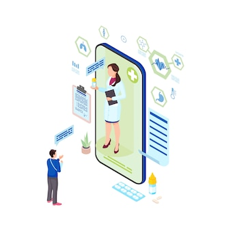 Ilustración isométrica de prescripción de medicina en línea. trabajador médico de la salud que prescribe la medicación para el paciente. traumatólogo remoto que consulta al personaje de dibujos animados en línea hombre herido