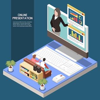 Ilustración isométrica de presentación en línea