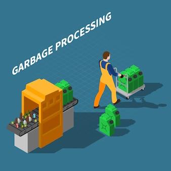 Ilustración isométrica de procesamiento de basura