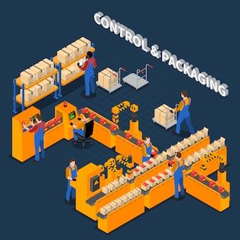 Ilustración isométrica del proceso de embalaje