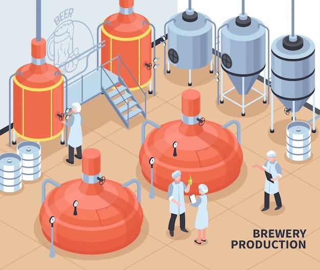 Ilustración isométrica de producción de cervecería