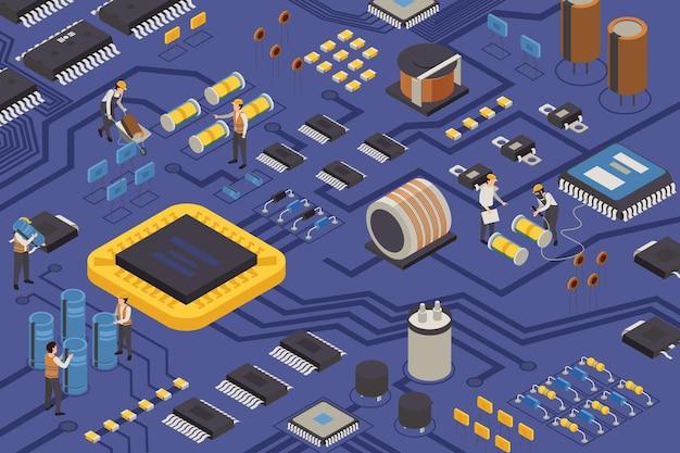 Ilustración isométrica de producción de elementos semiconductores.