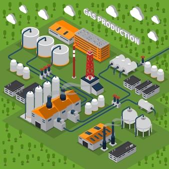 Ilustración isométrica de producción de gas