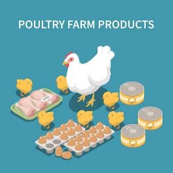 Ilustración isométrica de productos de granja avícola