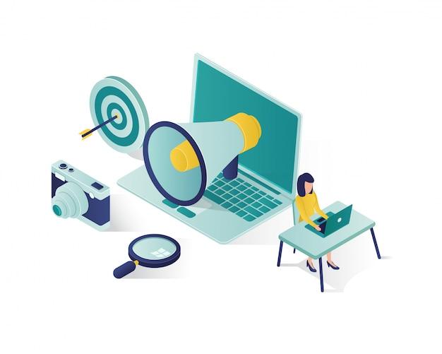 Ilustración isométrica de promoción empresarial, ilustración isométrica de marketing en redes sociales.