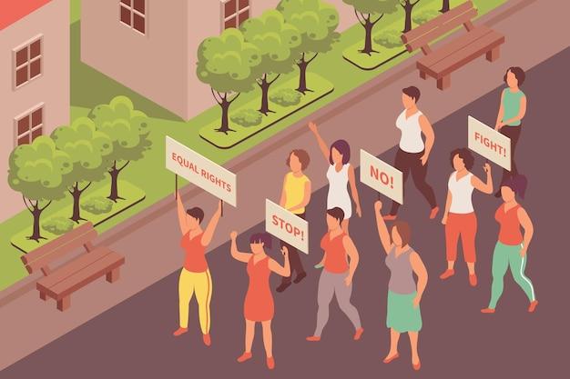Ilustración isométrica de protesta feminista