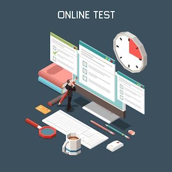 Ilustración isométrica de prueba en línea