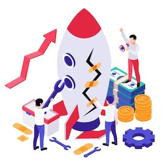 Ilustración isométrica de recuperación empresarial económica con cohetes, efectivo y engranajes