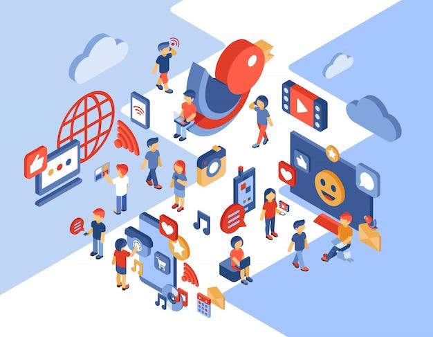 Ilustración isométrica de redes sociales y comunicación