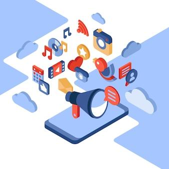 Ilustración isométrica de redes sociales y teléfonos móviles