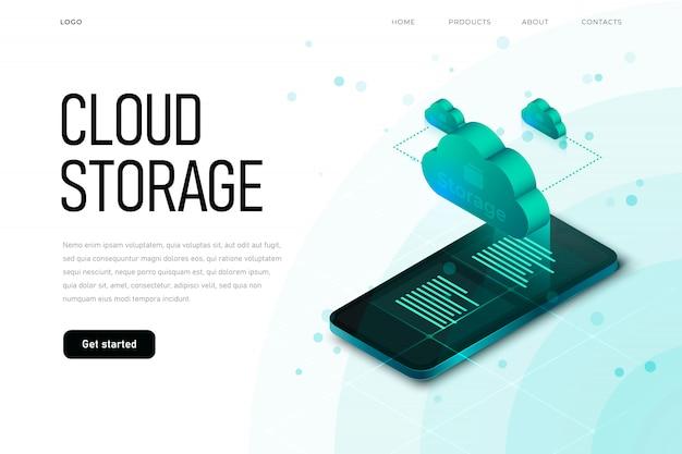 Ilustración isométrica relacionada con la esfera de ti con nube 3d y smaprtphone isométrico. plantilla de página de destino de almacenamiento en la nube con nube isométrica, tecnología de alta tecnología,