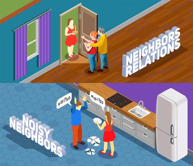 Ilustración isométrica de relaciones de vecinos
