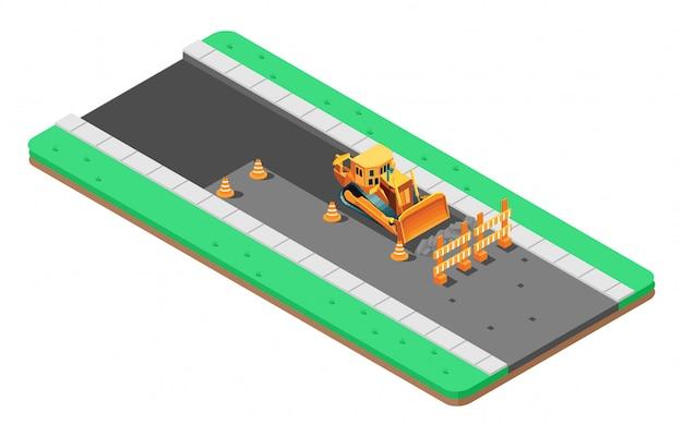 Ilustración isométrica de reparación de asfalto en carretera.