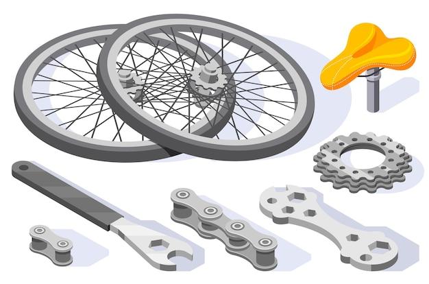 Ilustración isométrica de repuestos de bicicletas.