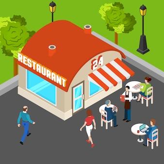 Ilustración isométrica del restaurante