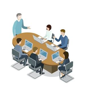 Ilustración isométrica de la reunión de negocios de la empresa