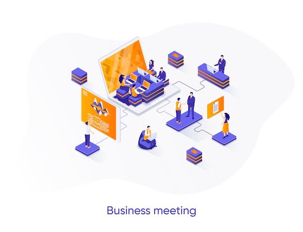 Ilustración isométrica de reunión de negocios con personajes de personas