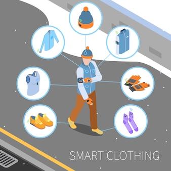 Ilustración isométrica de ropa inteligente
