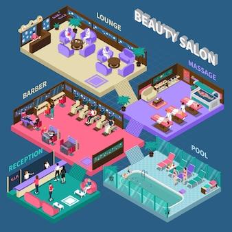 Ilustración isométrica salón de belleza de varios pisos