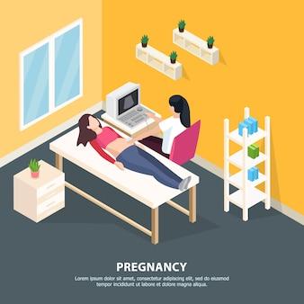 Ilustración isométrica de salud femenina con composición interior en sala de cirugía de médicos personajes humanos y texto editable
