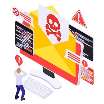 Ilustración isométrica de seguridad cibernética