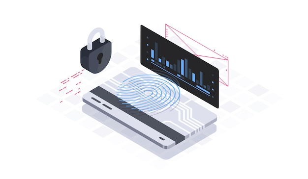 Ilustración isométrica de seguridad de datos móviles