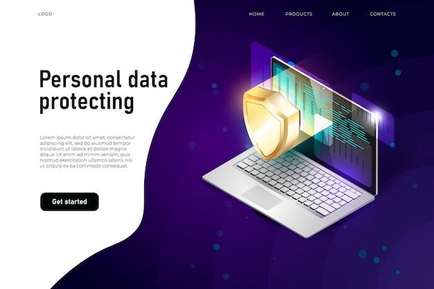 Ilustración isométrica de seguridad de datos personales, protección de datos con laptop y escudo de seguridad