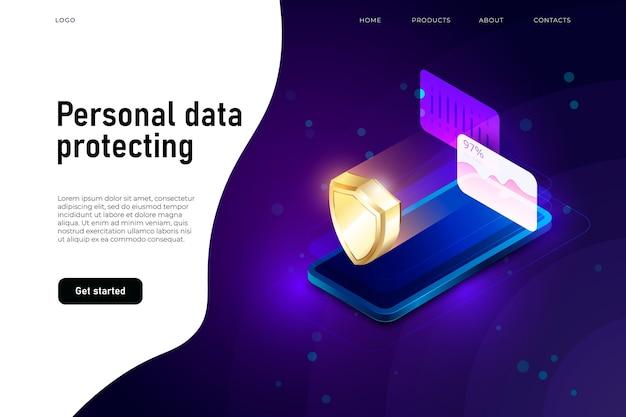 Ilustración isométrica de seguridad de datos personales
