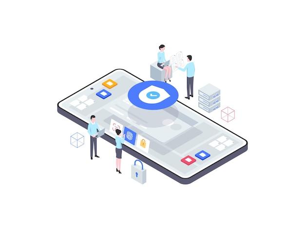 Ilustración isométrica de seguridad empresarial. adecuado para aplicaciones móviles, sitios web, banners, diagramas, infografías y otros activos gráficos.