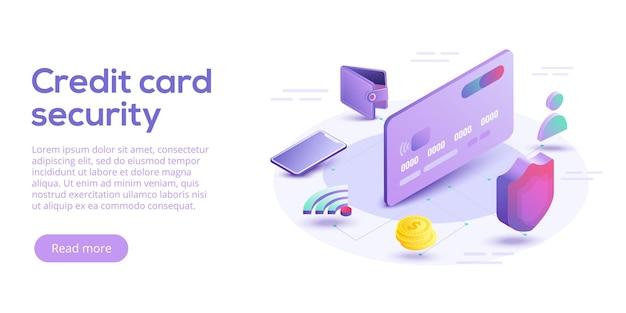 Ilustración isométrica de seguridad de tarjeta de crédito. concepto de sistema de protección de pagos en línea