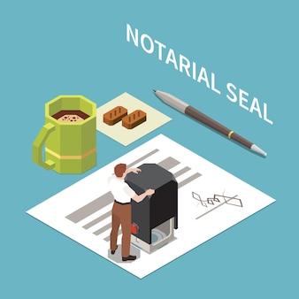 Ilustración isométrica del sello del notario