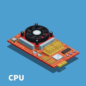 Ilustración isométrica de semiconductores demostrada placa de circuito impreso con unidad central de procesamiento y sistema de enfriamiento