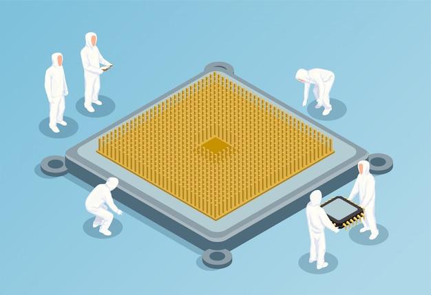 Ilustración isométrica de semiconductores con una imagen grande de la cpu en el centro y personas con ropa tecnológica blanca para salas limpias