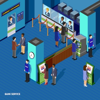 Ilustración isométrica del servicio de banco