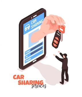 Ilustración isométrica del servicio de coche compartido
