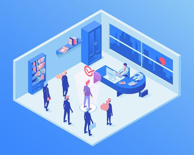 Ilustración isométrica del servicio de empleo