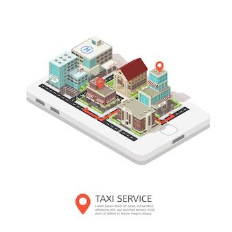 Ilustración isométrica del servicio de taxi móvil