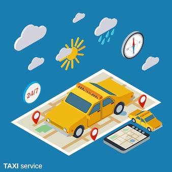 Ilustración isométrica del servicio de taxi