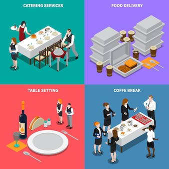 Ilustración isométrica de servicios de catering