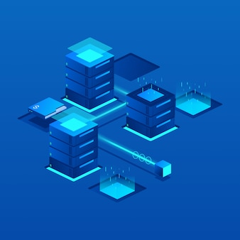 Ilustración isométrica del servidor de datos