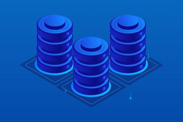Ilustración isométrica del servidor en la nube