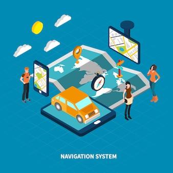 Ilustración isométrica del sistema de navegación