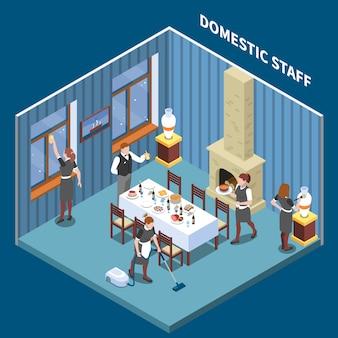 Ilustración isométrica del sistema de personal doméstico
