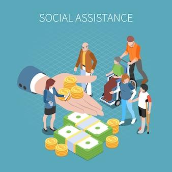 Ilustración isométrica del sistema de puntaje de crédito social