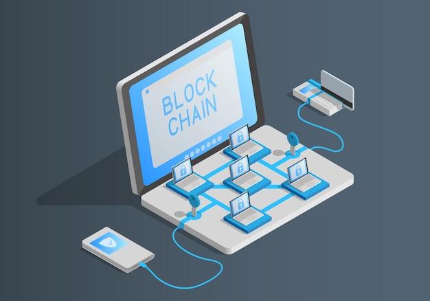 Ilustración isométrica sobre el tema de blockchain.
