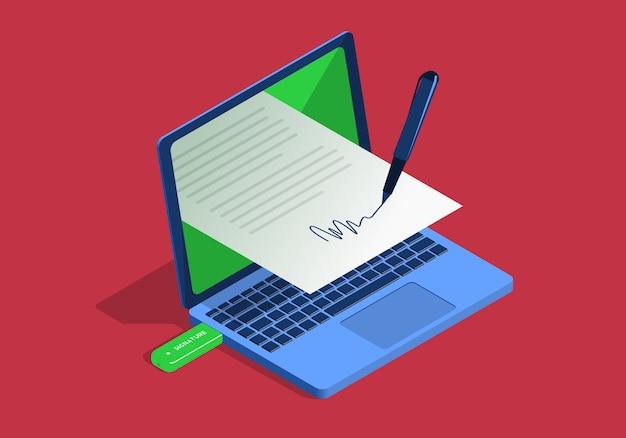 Ilustración isométrica sobre el tema de la firma digital con la computadora portátil sobre fondo rojo.