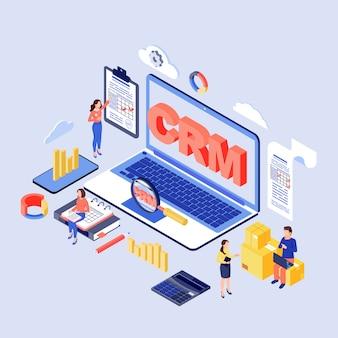 Ilustración isométrica del software crm. cliente, sistema de gestión de relaciones con clientes. empresa kpi, erp optimización concepto 3d. herramienta de automatización de marketing. organización del proceso de trabajo corporativo