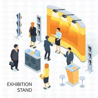 Ilustración isométrica del stand de exposición